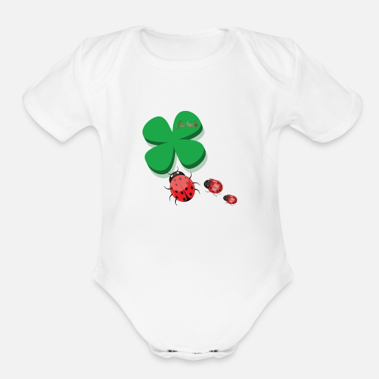 Luck Baby Clothing - clover for luck - Organic Short-Sleeved Baby Bodysuit white