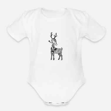 Carol Reindeer with Christmas Hat Zentangle - Organic Short-Sleeved Baby Bodysuit