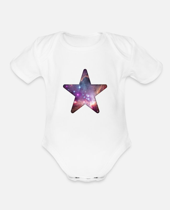 Space Baby One Pieces - Galaxy Star - Organic Short-Sleeved Baby Bodysuit white
