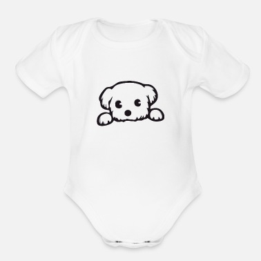 Man Pet little dog - Organic Short-Sleeved Baby Bodysuit