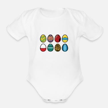 Egg Colored Chocolate Easter Eggs - Organic Short-Sleeved Baby Bodysuit