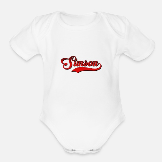 Gift Idea Baby Clothing - Simson Mopedfahrer Lover Gift T-Shirt - Organic Short-Sleeved Baby Bodysuit white