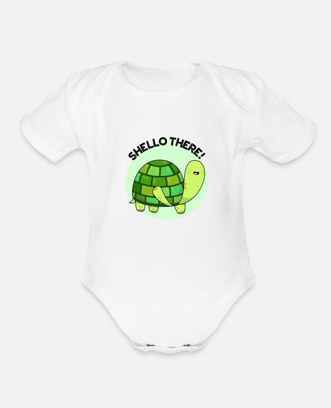 Turtle Cartoon Baby One Pieces - Shello There Cute Tortoise Pun - Organic Short-Sleeved Baby Bodysuit white