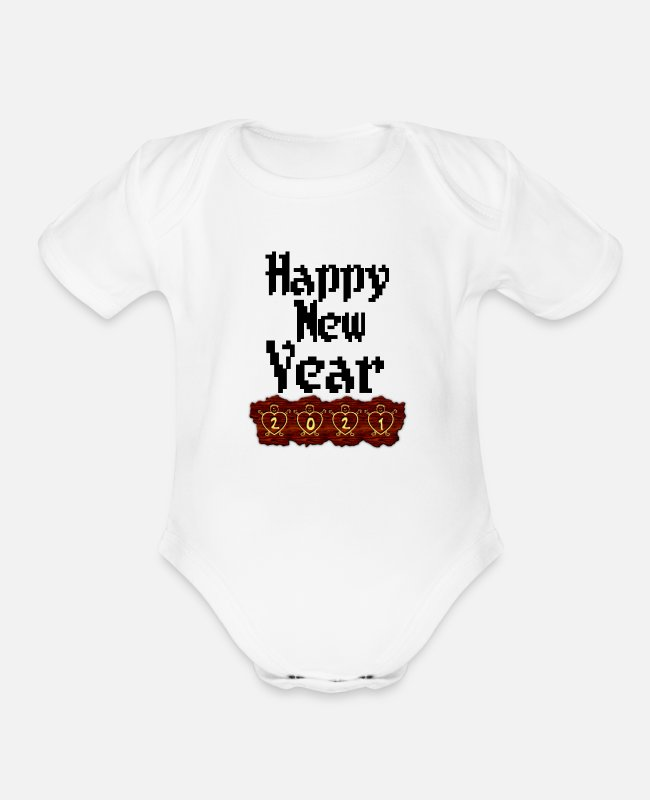 Happy Holidays Baby One Pieces - New year happy new year - Organic Short-Sleeved Baby Bodysuit white