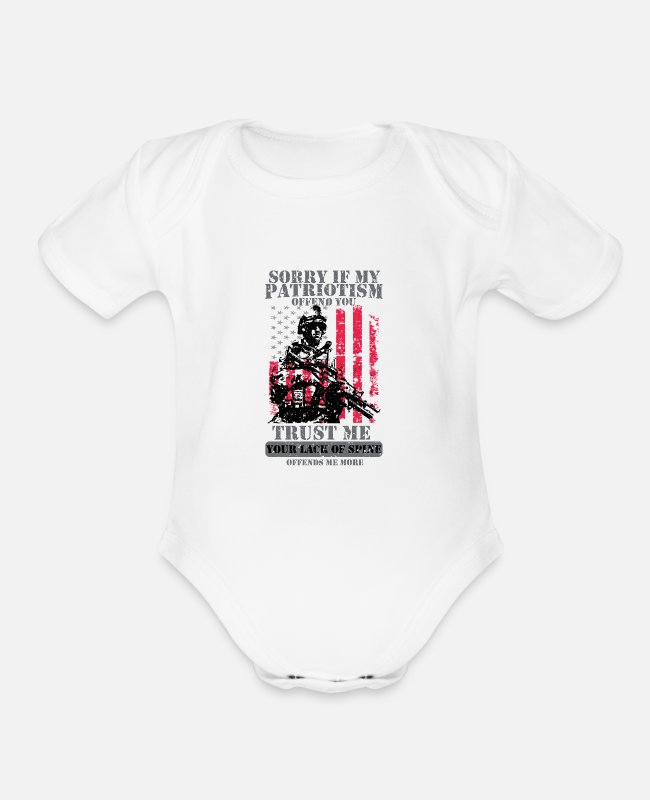 Patriotic Baby One Pieces - Patriots Patriotism Patriotic Veteran - Organic Short-Sleeved Baby Bodysuit white
