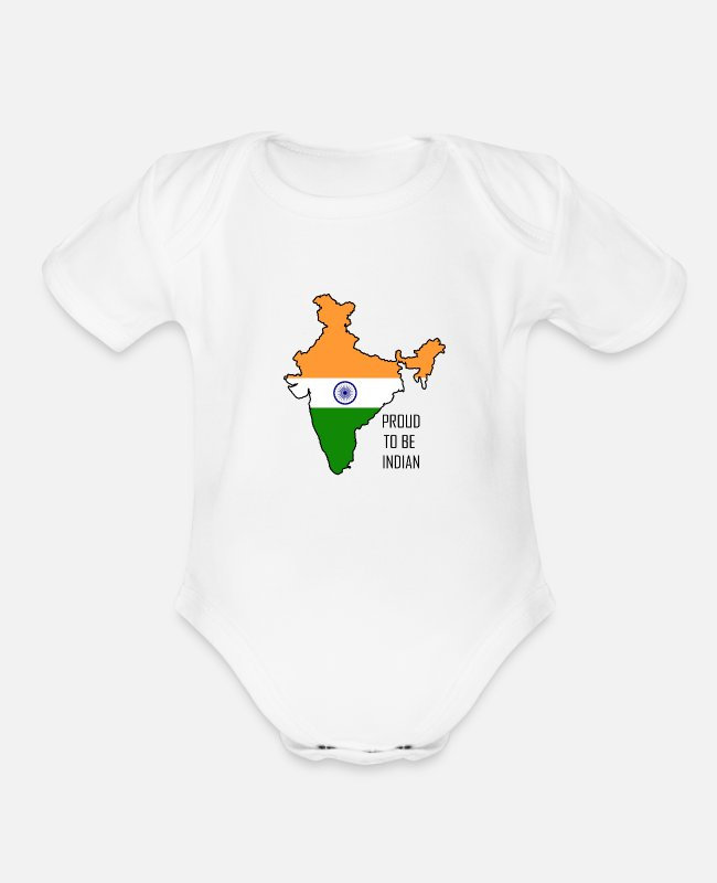 Budha Baby One Pieces - Proud to be Indian - Organic Short-Sleeved Baby Bodysuit white