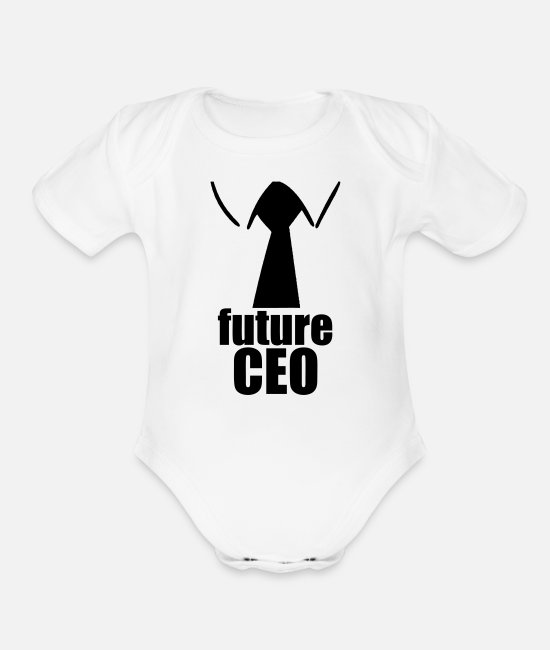 New Baby Baby One Pieces - Future CEO - Organic Short-Sleeved Baby Bodysuit white