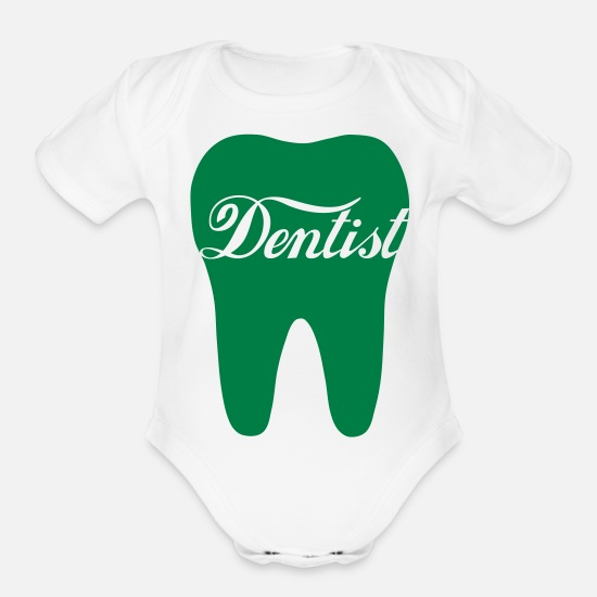 Emergency Baby Clothing - Dentist in tooth - Organic Short-Sleeved Baby Bodysuit white