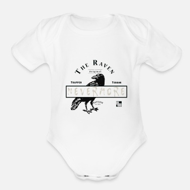 Insane Satire The Raven Asylum (Beige Text) - Organic Short-Sleeved Baby Bodysuit