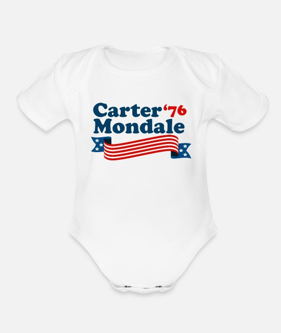 1976 Baby One Pieces - Carter Mondale 76 Retro Election - Organic Short-Sleeved Baby Bodysuit white