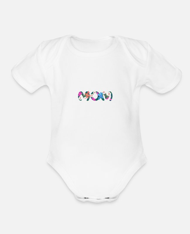 Mummy Baby One Pieces - MOM - Organic Short-Sleeved Baby Bodysuit white
