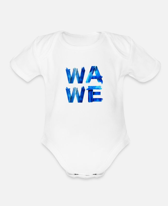 Surfers Baby One Pieces - Wave Nautical Water Letters Surfers Gift for - Organic Short-Sleeved Baby Bodysuit white