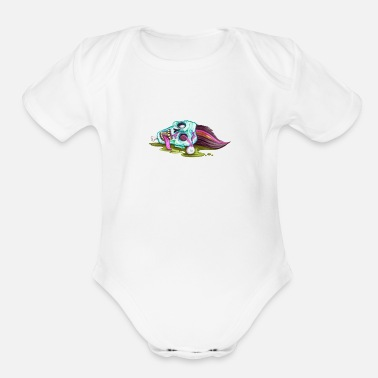 Alien Halloween Zombie Dead Face - Organic Short-Sleeved Baby Bodysuit