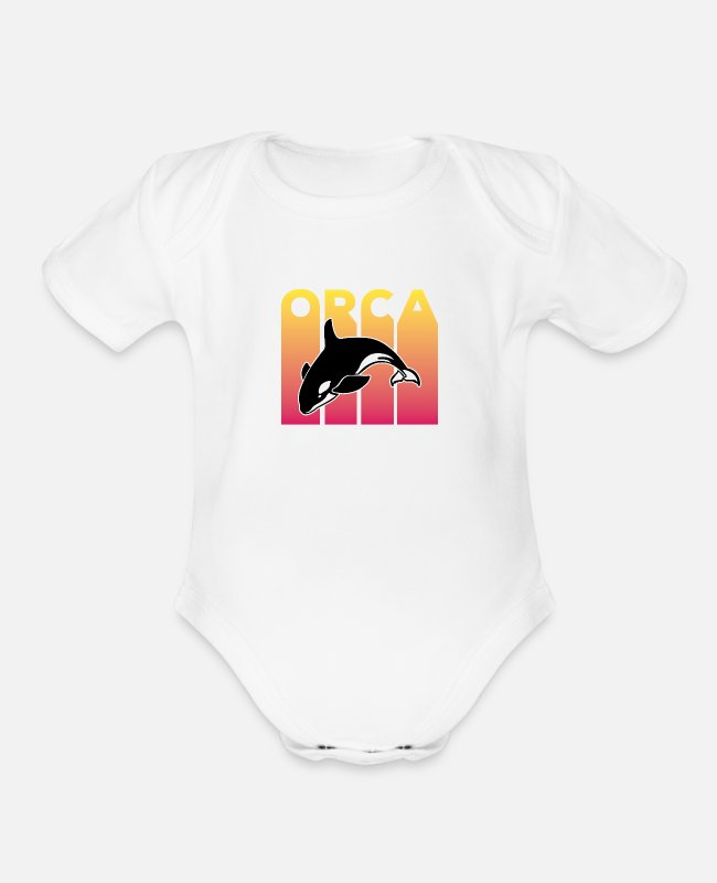 Weather Baby One Pieces - Orca Retro Design for Men, Women and Kids - Organic Short-Sleeved Baby Bodysuit white