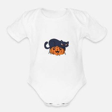 Trick Or Treat Cat Costume Pumpkin Jack O Lantern Spooky - Organic Short-Sleeved Baby Bodysuit
