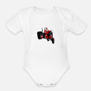 Santa and his trike - Organic Short-Sleeved Baby Bodysuit