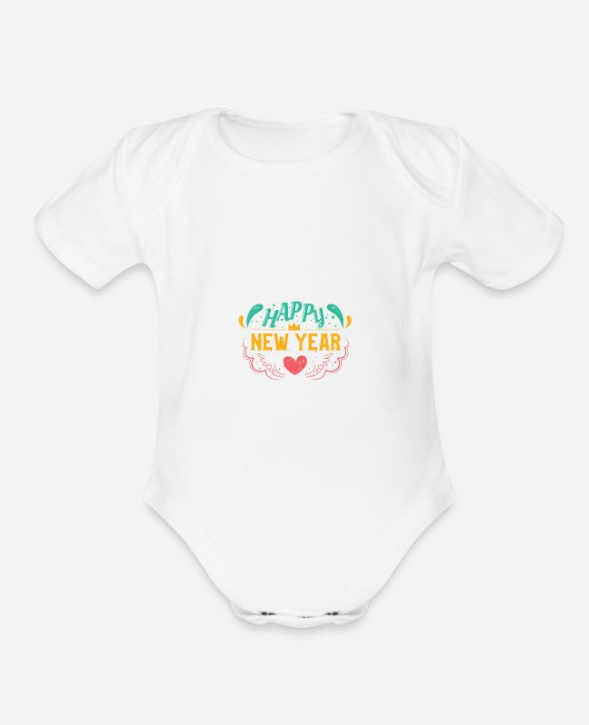 Heart Baby One Pieces - HAPPY NEW YEAR - Organic Short-Sleeved Baby Bodysuit white