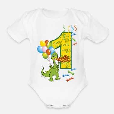 Birth 1st birthday first birthday one year 1 - Organic Short-Sleeved Baby Bodysuit