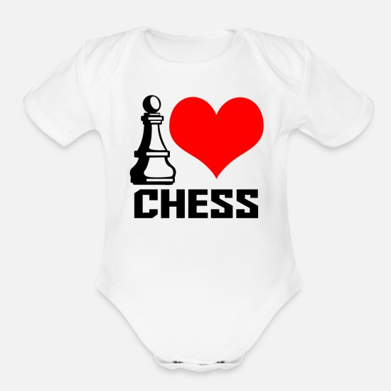 Chess Baby Clothing - I heart chess - Organic Short-Sleeved Baby Bodysuit white