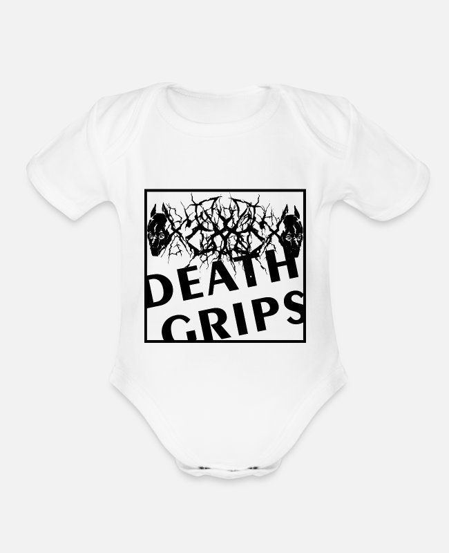 Grip Baby One Pieces - DEATH GRIPS - Organic Short-Sleeved Baby Bodysuit white