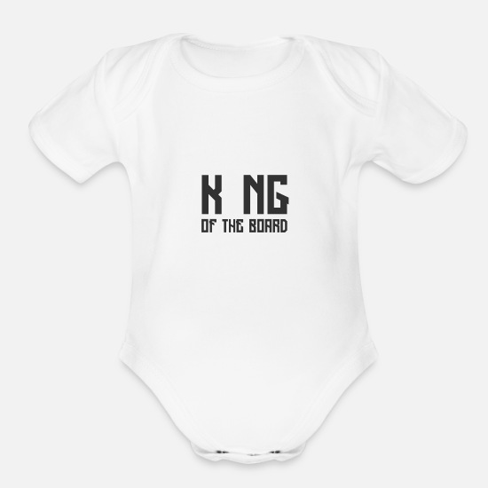 Chess Baby Clothing - King of the board Chess Gift - Organic Short-Sleeved Baby Bodysuit white