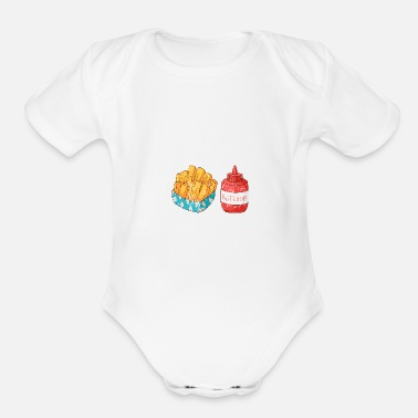 Beef Retro Vintage Grunge Style French fries Ketchup - Organic Short Sleeve Baby Bodysuit