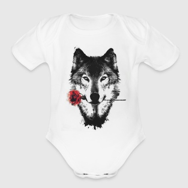 Wolf Rose - Short Sleeve Baby Bodysuit