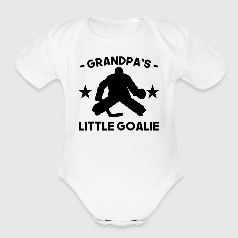 Grandpa's Little Goalie Hockey - Short Sleeve Baby Bodysuit