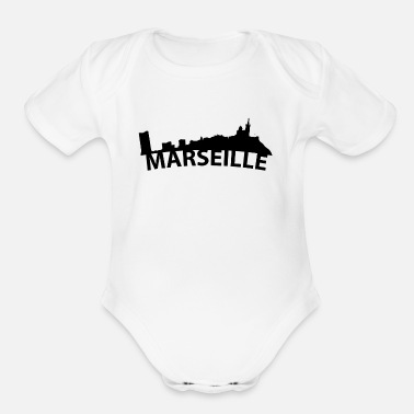 Marseille Arc Skyline Of Marseille France - Organic Short Sleeve Baby Bodysuit