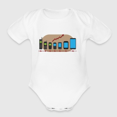 mobile phone evolution - Organic Short Sleeve Baby Bodysuit
