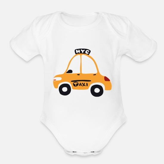 Cab Baby Clothing - NYC cab - Organic Short-Sleeved Baby Bodysuit white