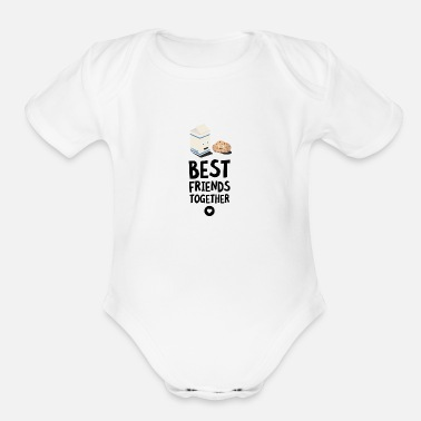 Milk Cookies and Milk Best friends Heart S5f3b - Organic Short-Sleeved Baby Bodysuit