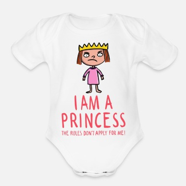 Baby Shower The rules don't apply for a princess - Organic Short-Sleeved Baby Bodysuit