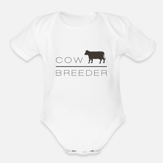 Cow Baby Clothing - Cow Breeder - Silhouette of a cow - Organic Short-Sleeved Baby Bodysuit white