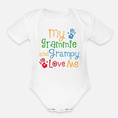 Handprint Grammie and Grampy Love Me - Organic Short-Sleeved Baby Bodysuit