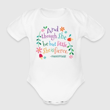 She Is Fierce Shakespeare Quote - Organic Short Sleeve Baby Bodysuit
