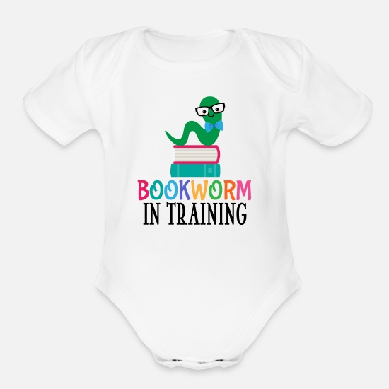 Funny Bookworm In Training For Future Reading Library Books Lover Baby Onesie Bodysuit