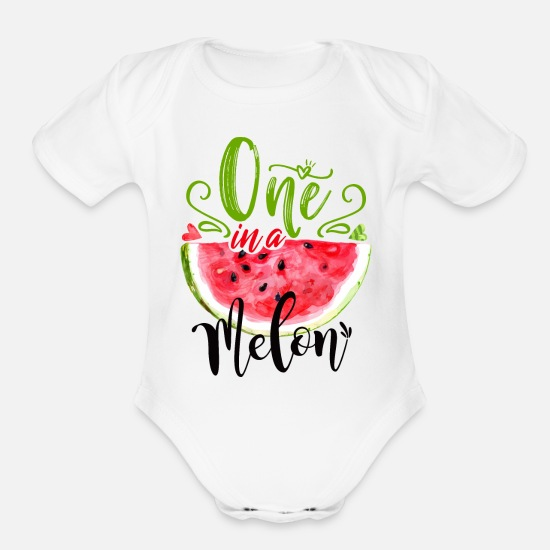 Melon Baby Clothing - One in a Melon Birthday Shirt,One Birthday,Melon - Organic Short-Sleeved Baby Bodysuit white