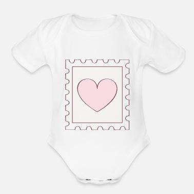 Postage Love Postage Stamp - Organic Short-Sleeved Baby Bodysuit