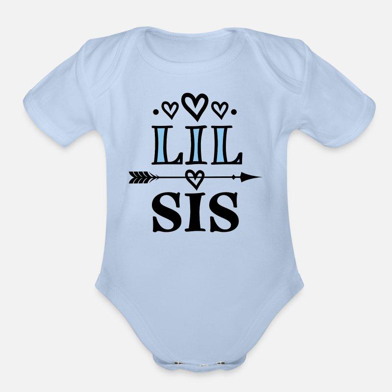 524833726 Little Sister Lil Sis Arrow Organic Short-Sleeved Baby Bodysuit    Spreadshirt