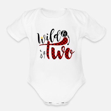Wild & Two,2nd Birthday Shirt,buffalo plaid party - Organic Short-Sleeved Baby Bodysuit