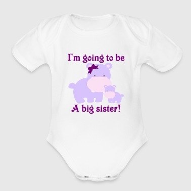 I'm going to be a big sister purple hippos with a  - Organic Short Sleeve Baby Bodysuit