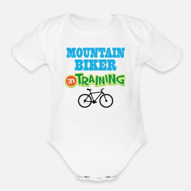 Biker Mountain Biker in Training Bicycle - Organic Short-Sleeved Baby Bodysuit