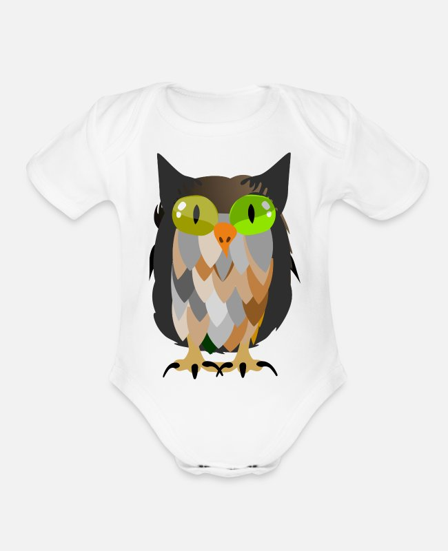 Embezzler Baby One Pieces - funny owl - Organic Short-Sleeved Baby Bodysuit white