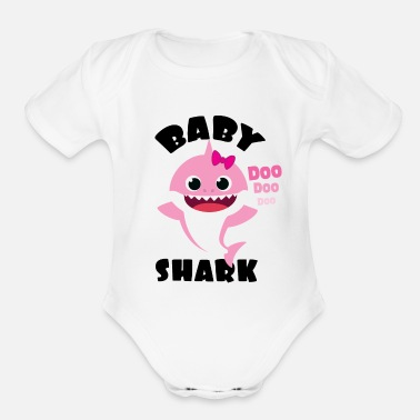 Shark Baby Shark Design in Pink for Girl Doo Doo Gift - Organic Short-Sleeved Baby Bodysuit