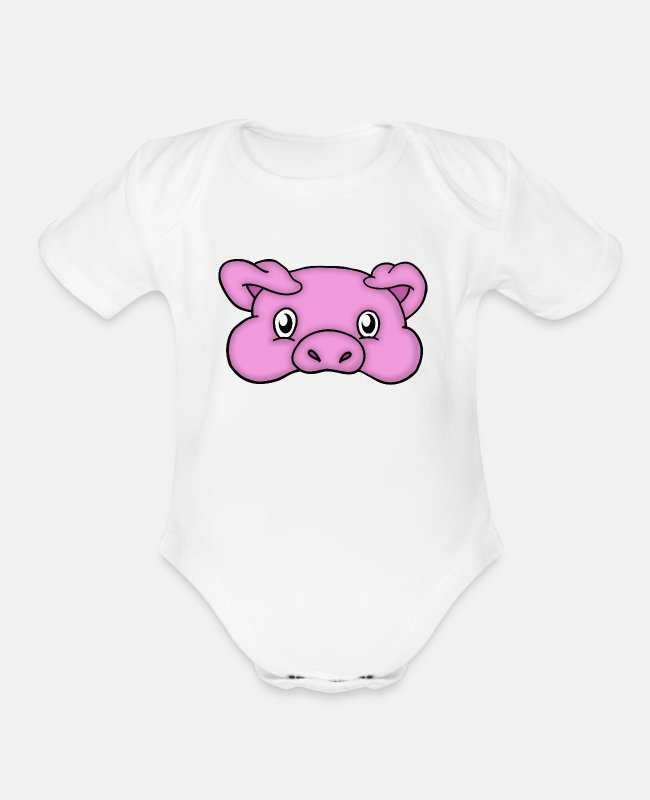 Hog Baby One Pieces - Peeky Piggy - Organic Short-Sleeved Baby Bodysuit white