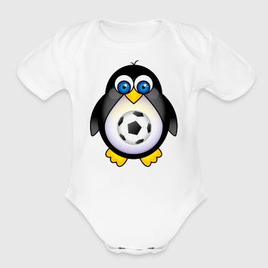 Penguin Soccer Player Kid Penguin - Organic Short Sleeve Baby Bodysuit