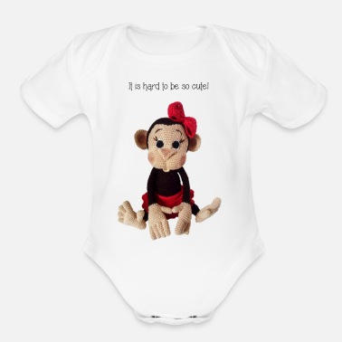 Monkey girl - Organic Short-Sleeved Baby Bodysuit