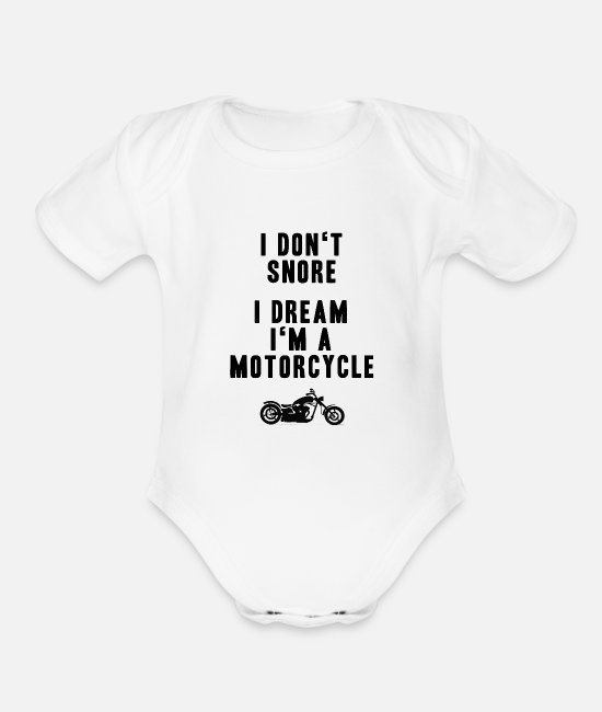 Motorcycle Baby One Pieces - brumm - Organic Short-Sleeved Baby Bodysuit white