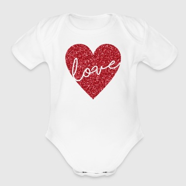 Heart Love - Organic Short Sleeve Baby Bodysuit